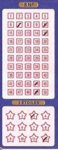 Euromillions. Exemple de bulletin gagnant. Jackpot record de 190 millions